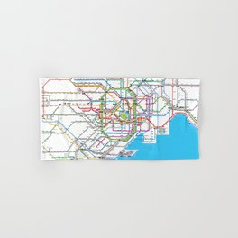 Hand Drawn Tokyo Subway Map.Transit Hand Bath Towels Society6