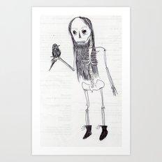 just chillen holding a raven Art Print