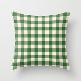Buffalo Plaid Rustic Lumberjack Green and White Check Pattern Throw Pillow