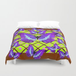 Migrating Purple Butterflies  on  Coffee Brown & Lime Color Pattern Duvet Cover
