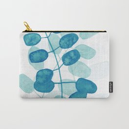 Dark Teal Leaves Carry-All Pouch