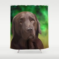 labrador Shower Curtains featuring Chocolate Labrador by Nojjesz