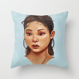 Red Eyes Portrait Throw Pillow
