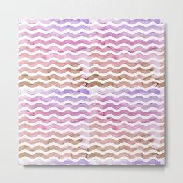 Blush pink purple brown watercolor wave stripes Metal Print