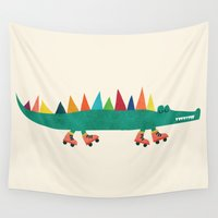 crocodile Wall Tapestries featuring Crocodile on Roller Skates by Picomodi