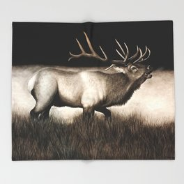 Bull Elk Throw Blanket