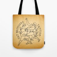foo fighters Tote Bags featuring The Fighters by Fat Brothers Tattoo Art Emporium