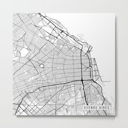Buenos Aires Map, Argentina - Black and White Metal Print