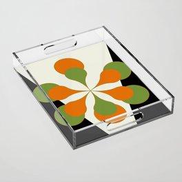 Mid-Century Modern Art 1.4 - Green & Orange Flower Acrylic Tray