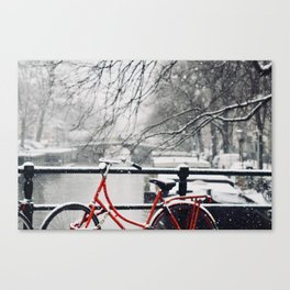 Red Bike in the Snow Canvas Print