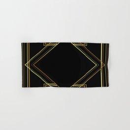 art deco gatsby black and gold lines geometric pattern Hand & Bath Towel