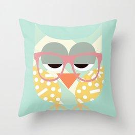 Geometric Nerd Owl Throw Pillow