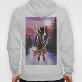 Hunting beauty, Watercolor hand drawn scene,Beautiful woman on Vintage wildlife colorful landscape Hoody