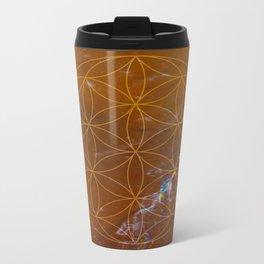 Orange Calcite // Flower of Life Metal Travel Mug