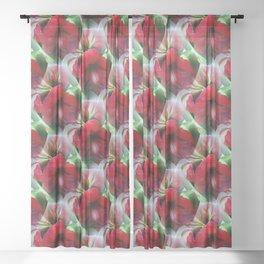 Seamless Red Amaryllis Sheer Curtain