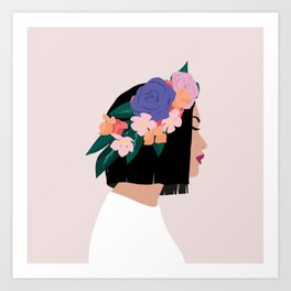 Girl with Flower Crown Art Print