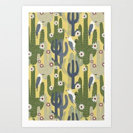 Cactus Wrens Art Print