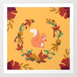 Autumn - Squirrel Surrounded By Nuts And Plants Art Print