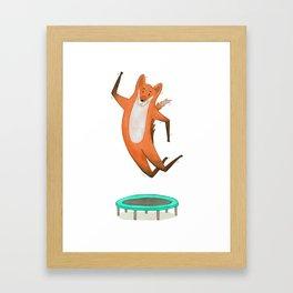 Trampolining Fox Framed Art Print