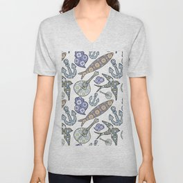 Collection of traditional Portuguese icons in seamless pattern. Unisex V-Neck