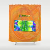 kansas Shower Curtains featuring Kansas Map by Roger Wedegis