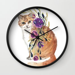 cat with flower boa Wall Clock