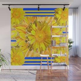 DECORATIVE BLUE & YELLOW FLORAL MODERN ART Wall Mural