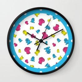 Pink, yellow and blue pattern monkey Wall Clock