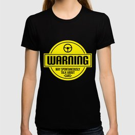 Mens Warning May Spontaneously Talk About Cars print | Auto Tee T-shirt