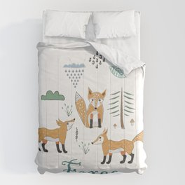 Cute Winter Icon with foxes. Hand Drawn Scandinavian Style. Comforters