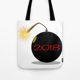 Cartoon 2018 New Year Bomb Tote Bag
