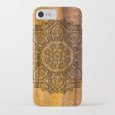 Mandala on wood iPhone 7 Slim Case