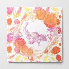 Australian Native Floral print with possum Metal Print