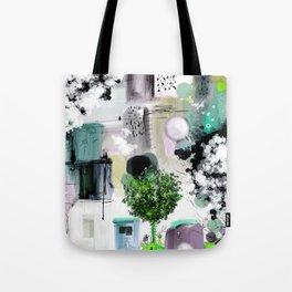 Peinture digitale maison arbres chat oiseau bulles Tote Bag