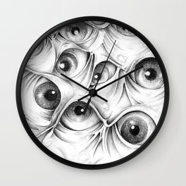 Trippy Abstract Eyeball Drawing Wall Clock