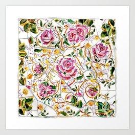 Gaudí Barcelona, Broken tiles watercolor illustration, Vintage pink roses Flowers floral mosaic art Art Print