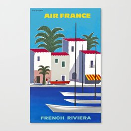 1960 French Riviera Air France Travel Poster Canvas Print