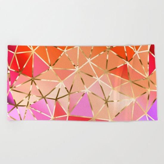 Rainbow Geometric pattern #4 Beach Towel