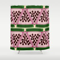 stripe Shower Curtains featuring Watermelon Stripe by Glanoramay