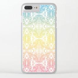 Color Gradient Floral Doodle Pattern Clear iPhone Case