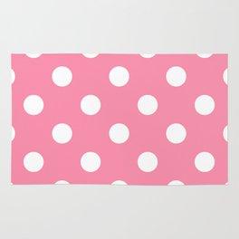 Polka Dots - White on Flamingo Pink Rug