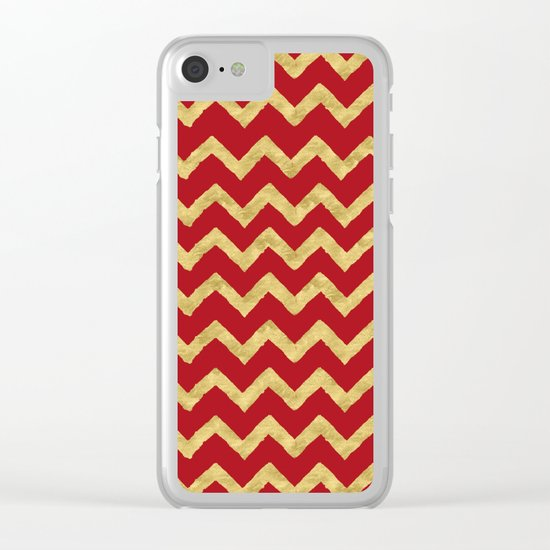 Chevron Red Gold Clear iPhone Case
