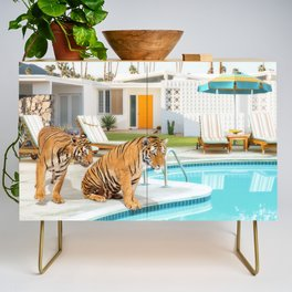 Tigers at the Pool Credenza