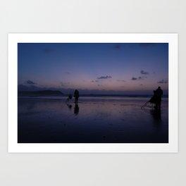 Beach Fishing at Dusk Art Print
