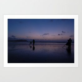 Beach Fishing at Dusk Art Print