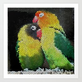 Love Parrots Creative Design Art Print