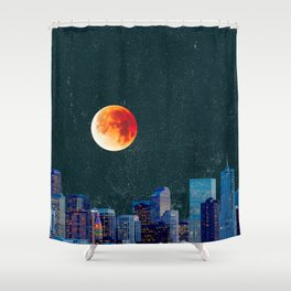 Blood Moon over Denver Colorado Skyline Shower Curtain
