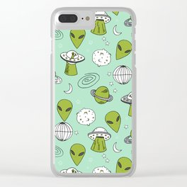 Alien outer space cute aliens french fries rad sodas pattern print mint Clear iPhone Case