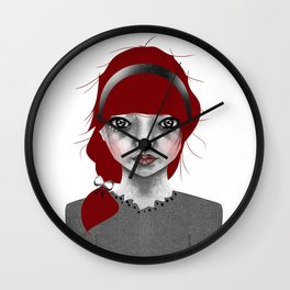 005 Red Hair and a Pretty Grey Bow Wall Clock