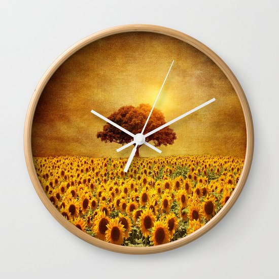 lone tree & sunflowers field (II) Wall Clock
